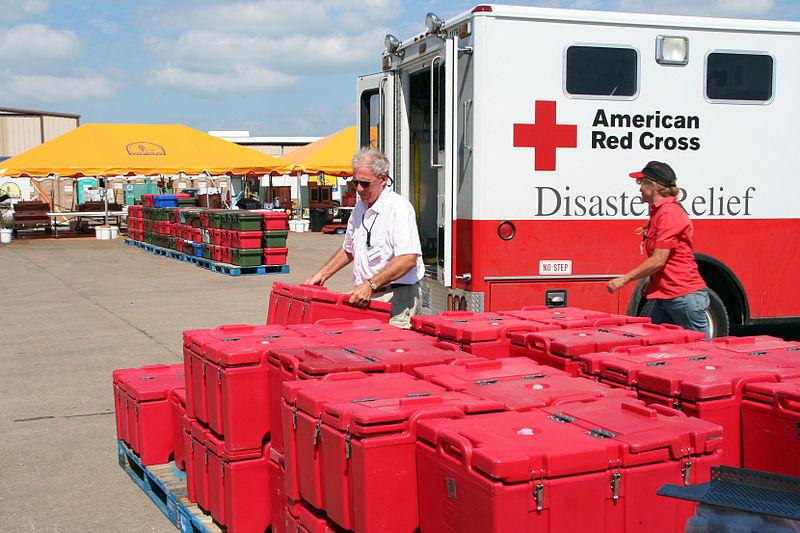 Red Cross workers in Galveston, Texas in 2008.