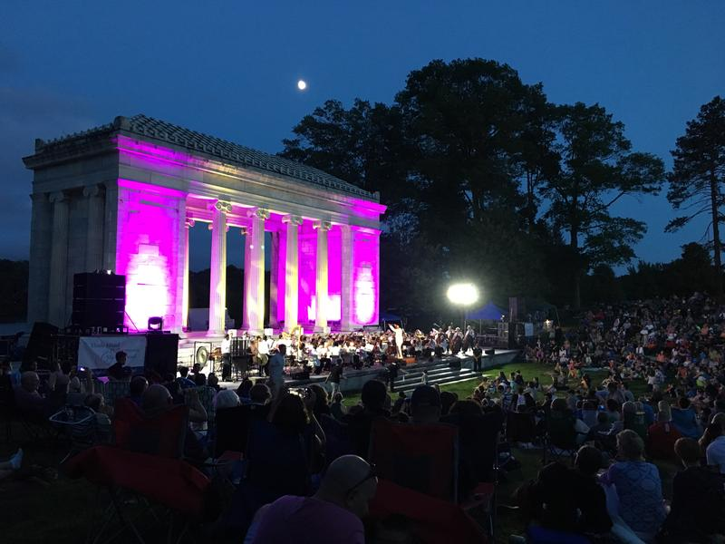 The Rhode Island Philharmonic Playing the '1812 Overture' during a summer concert.