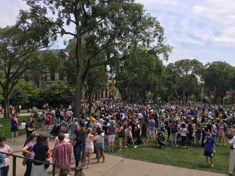 A line snaked through Brown's main green for the chance to see the eclipse through one of several telescope.