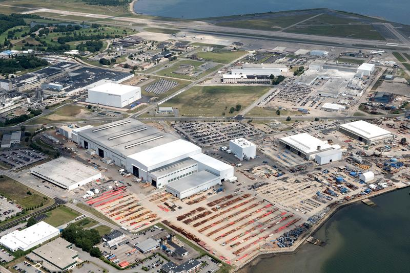 Aerial shot of Electric Boat's North Kingstown campus, one of the defense companies in Rhode Island.
