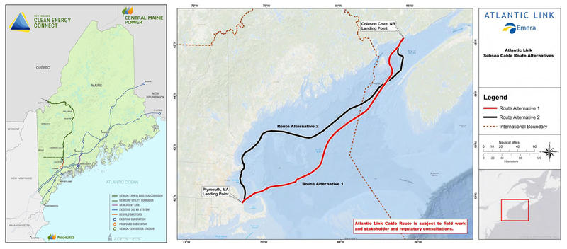 Central Maine Power's New England Clean Energy Connect proposal (left) and Emera Maine's Atlantic Link proposal.