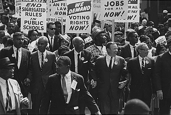The Civil Rights March on Washington, D.C. — Leaders marching from the Washington Monument to the Lincoln Memorial, August 1963.