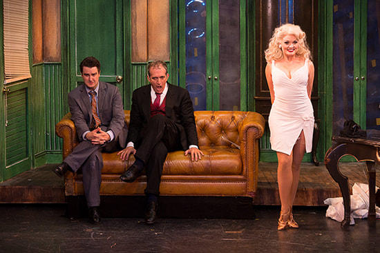 Richard Lafleur (Leo Bloom), Joel Briel (Max Bialystock), and Sabrina Harper (Ulla) in 'The Producers.'