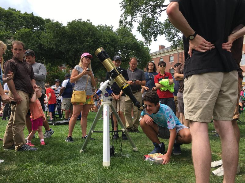 Brown University hosted a large crowd of eclipse watchers Monday.
