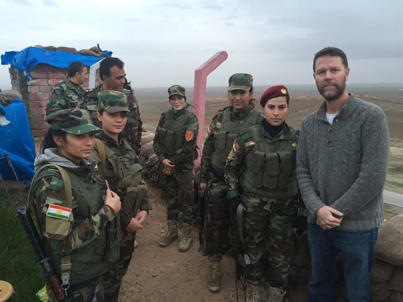 Williams with Kurdish anti-ISIS fighters on the frontlines near Mosul.