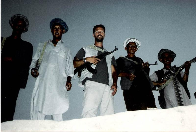 Williams with pro-U.S. Uzbek Mongol fighters in Afghanistan.