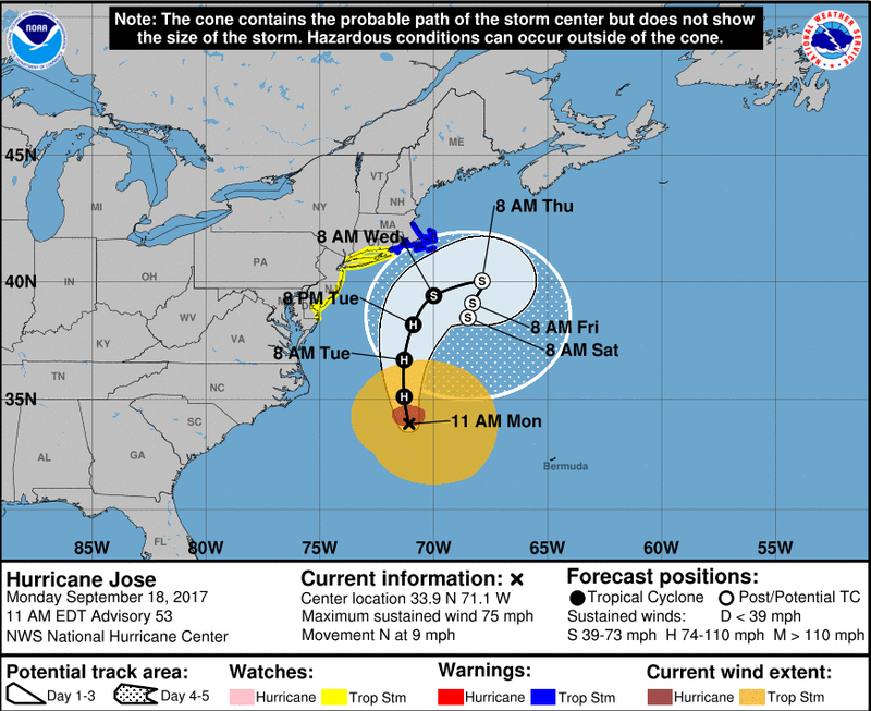Coastal Watches/Warnings and Forecast Cone for Storm Center