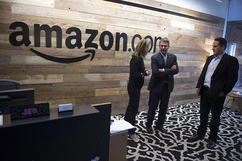 Defense Secretary Ash Carter, center, tours Amazon's headquarters in Seattle.
