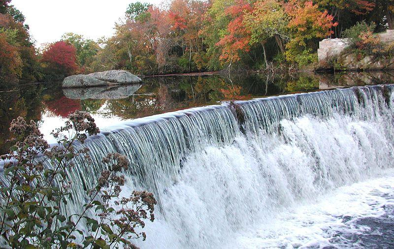 Water flows over a dam in the Wood River in Hopkinton, Rhode Island. The Narragansett Indian Tribe's water supply system is a part of the lower Wood River aquifer in the Pawcatuck Watershed.