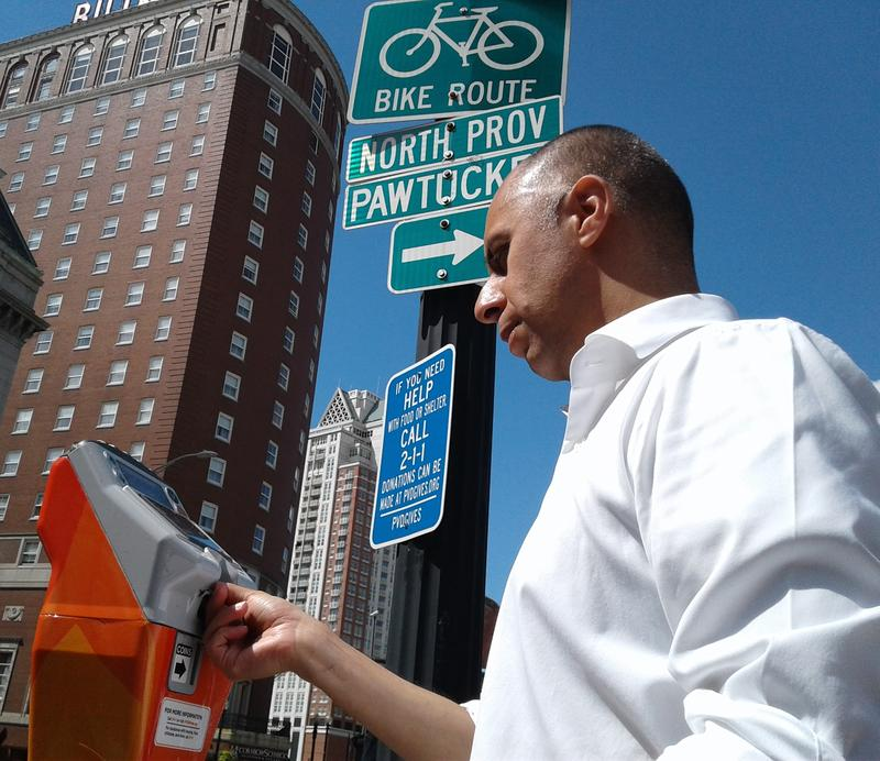 Providence Mayor Jorge Elorza made the first donation to go through the meters. It's part of the PVD Gives program, which includes a companion website.