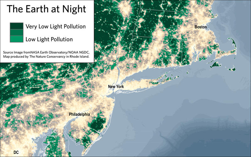 Map showig areas of low and very low light pollution along the coast.