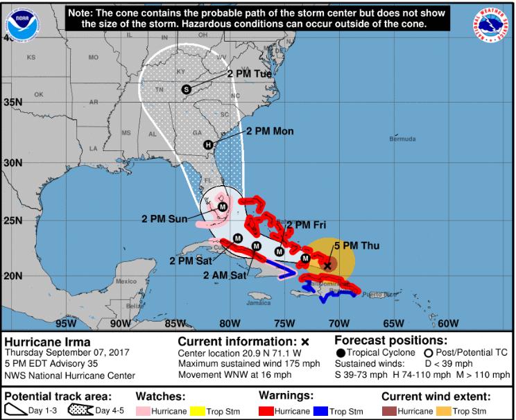 NWS Storm Track 5pm ET 9/7/17