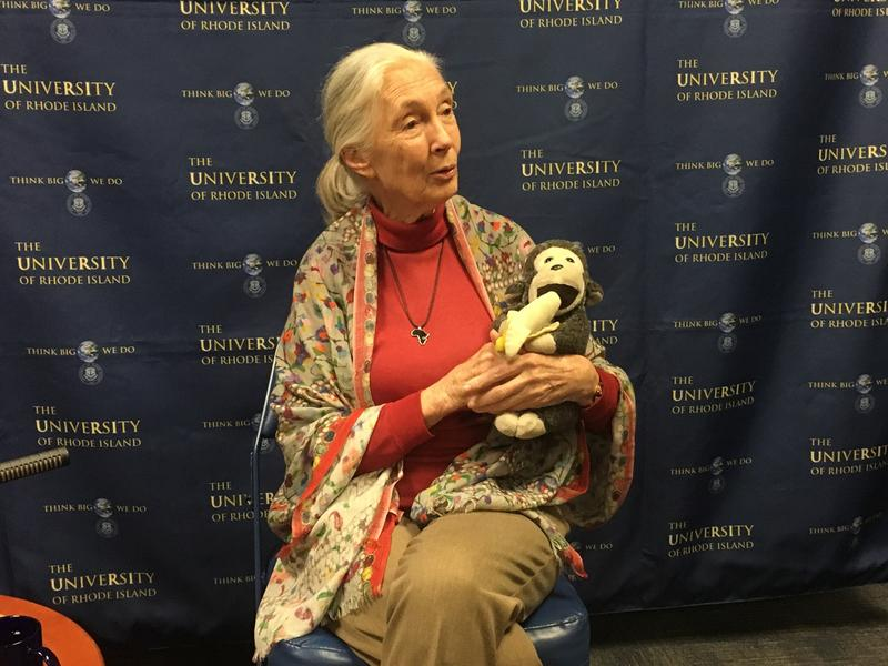 "Jane Goodall and her stuffed animal, ""Mr. H."""
