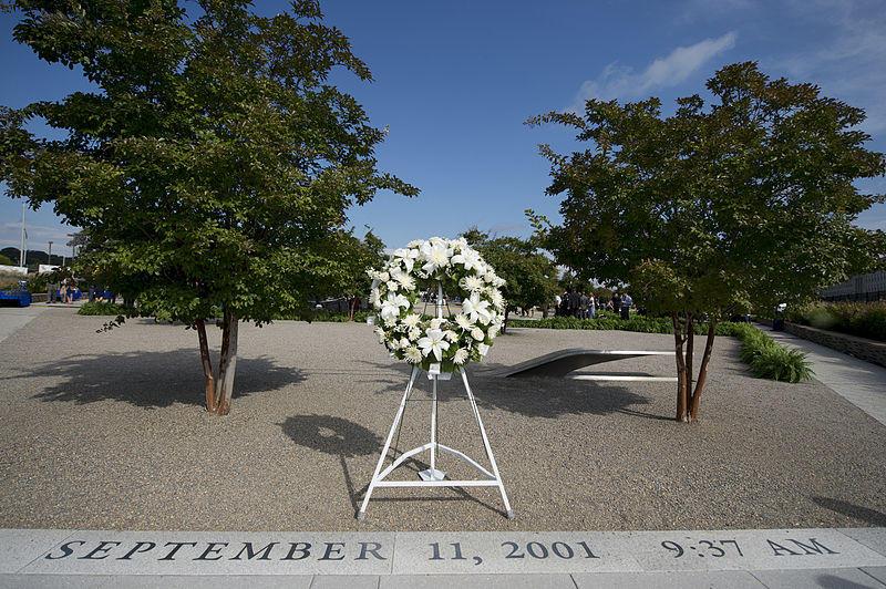 A memorial wreath stands at the entrance of the National 9/11 Pentagon Memorial in Arlington, Virginia.
