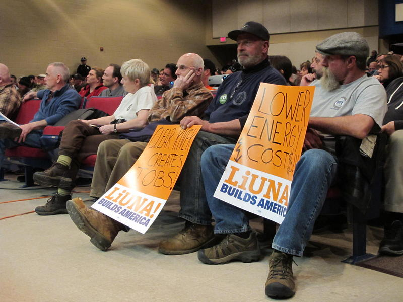 Members of the Laborers' International Union of North America show support for the power plant at the first public hearing in Burrillville April 2016. Charlestown's public hearing is expected to be scheduled the week of Dec. 4.