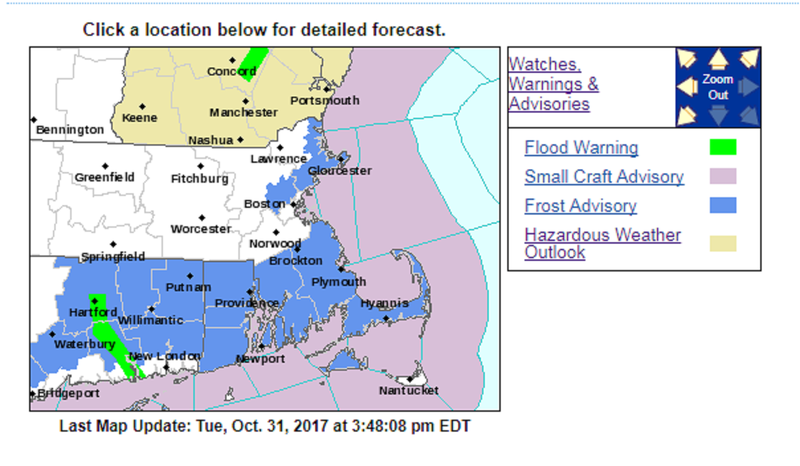 A frost advisory takes effect in RI and parts of MA on Halloween night.