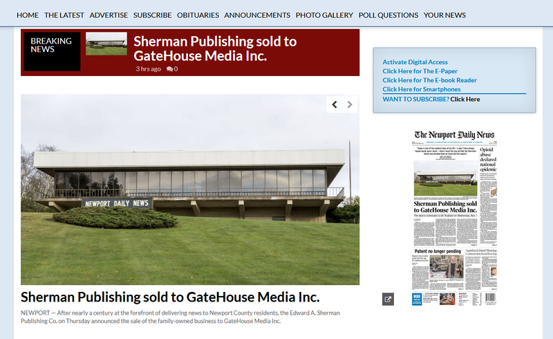 The Newport Daily News published a story about its sale to GateHouse Media on the paper's website.