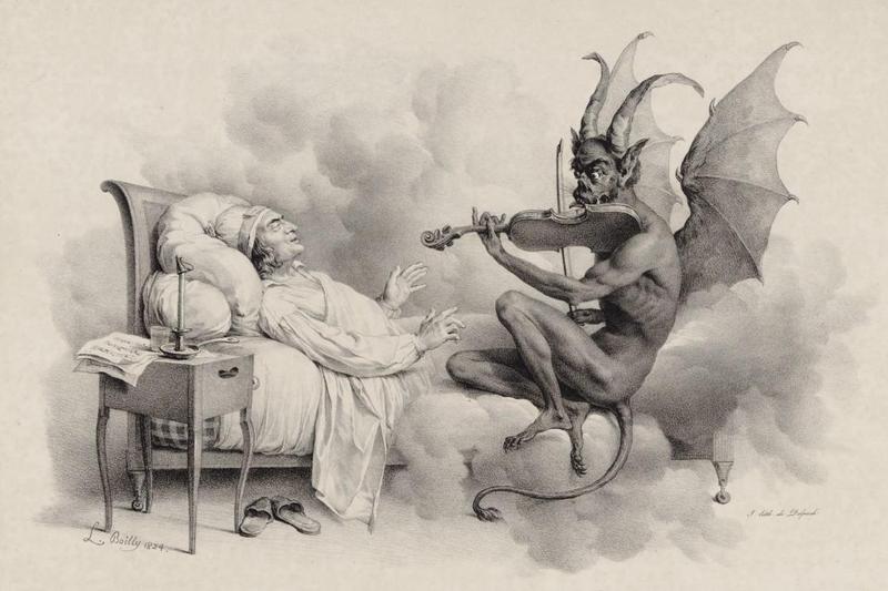 "Illustration of the legend behind Giuseppe Tartini's ""Devil's Trill Sonata."""