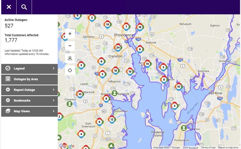 National Grid outage map of Rhode Island 11/03.