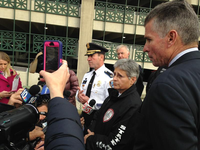 From L-R Police Chief Hugh Clements, State Police Head Ann Assumpico, and Providence Public Safety Officer Steven Pare brief members of the media following the highway shootout in Providence