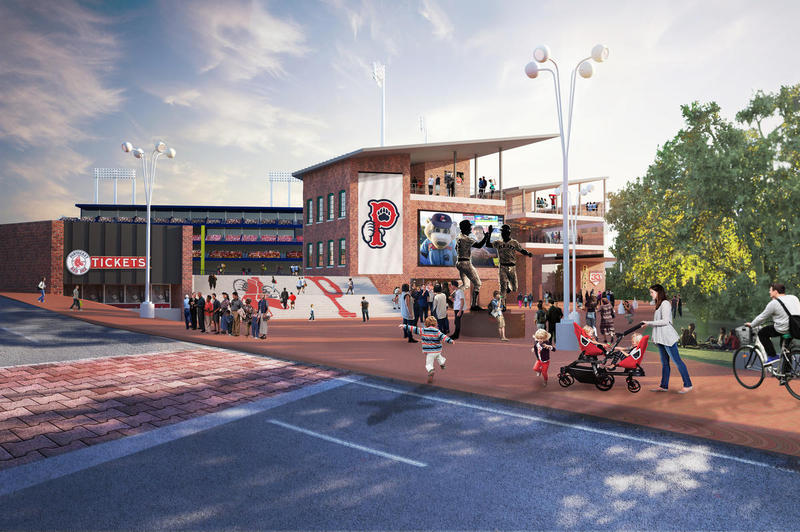 A rendering of what the PawSox ballpark could look like.