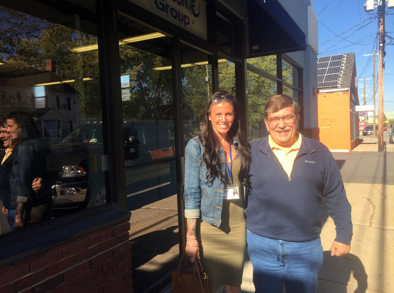 Sarah Curtis and Dana Lariviere outside the call center Chameleon Group in Portsmouth.