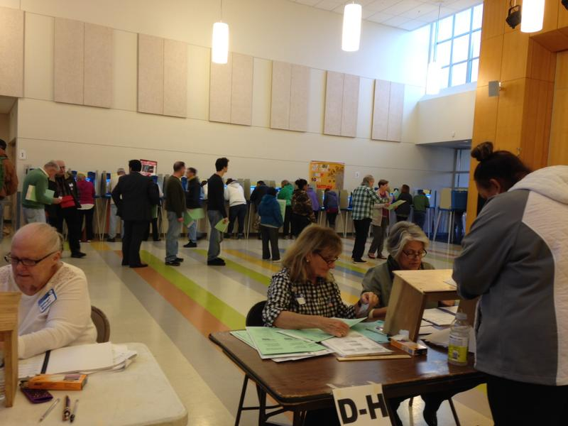Voters at a polling place in Newport, RI.