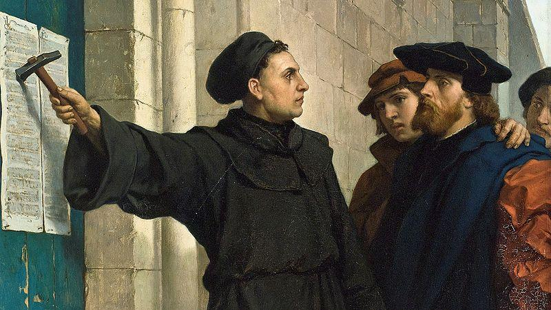 "Martin Luther posting his ""95 Theses"" in 1517."