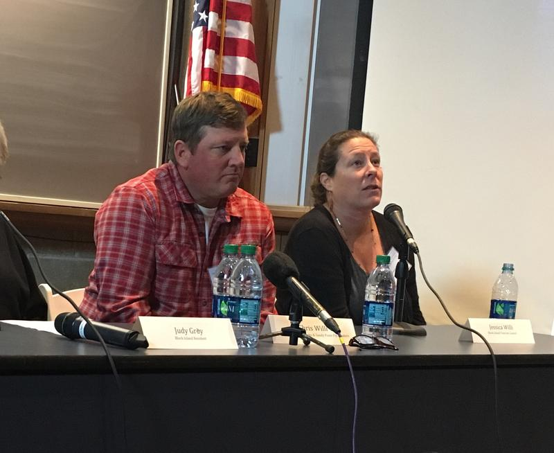 Chris and Jessica Willi, Block Island residents, talk about how the island's offhsore wind farm has impacted tourism, electric bills and high-speed internet access at a forum Tuesday at the University of Rhode Island's Graduate School of Oceanogrpahy.