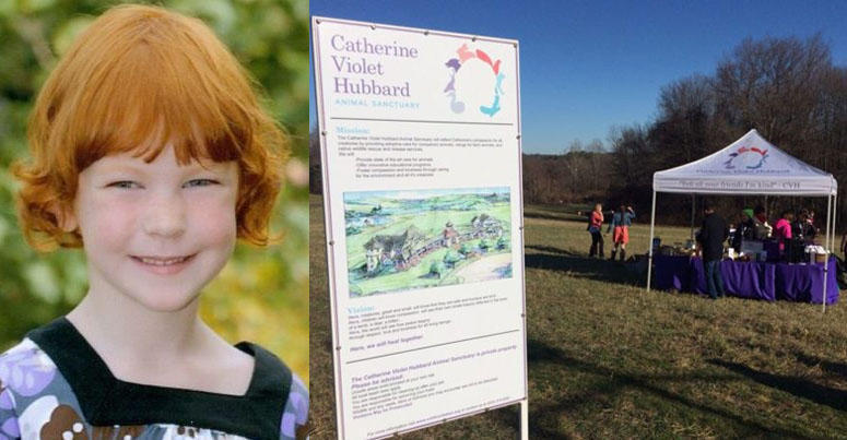 Catherine Violet Hubbard in a school picture, left, and a welcome tent on the grounds of the future animal sanctuary being built in her honor in Newtown, Conn.