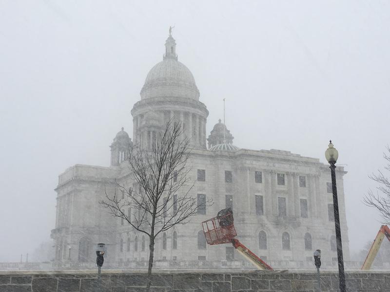 Snow swirling around the Rhode Island Statehouse.
