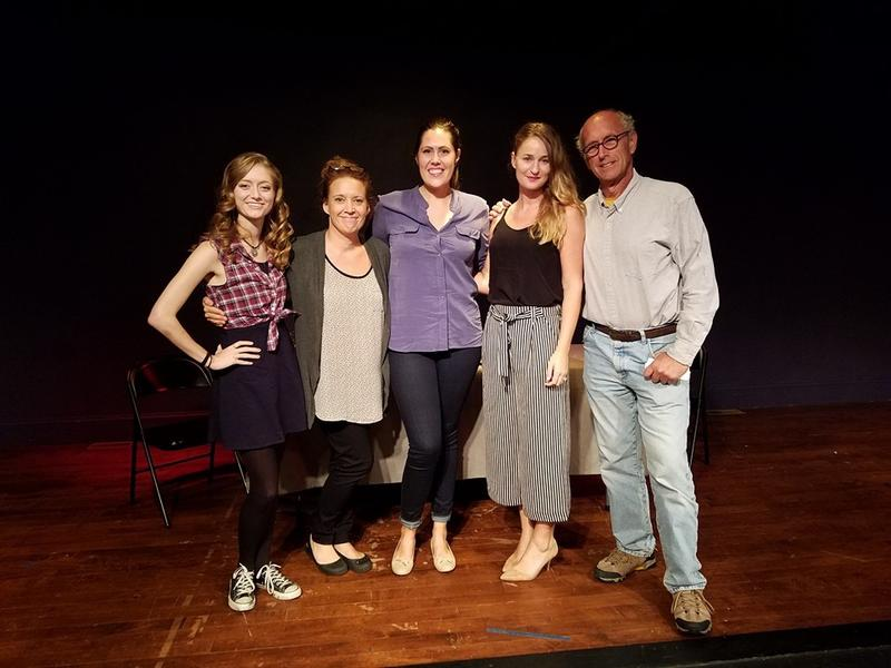 """Playwright Ana Bess Moyer Bell and the cast of """"Four Legs to Stand On"""" at the Alley Theater in Middleborough, MA. (From left: Sarah Reed, Emily Lewis, Jane Bird, Ana Bess Moyer Bell, Paul Kandarian.)"""