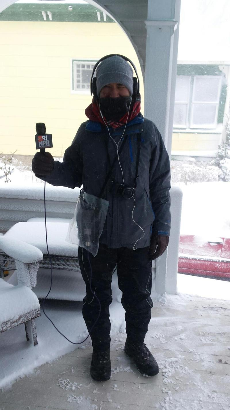 RIPR's John Bender reporting from a snow-swept porch during the storm.