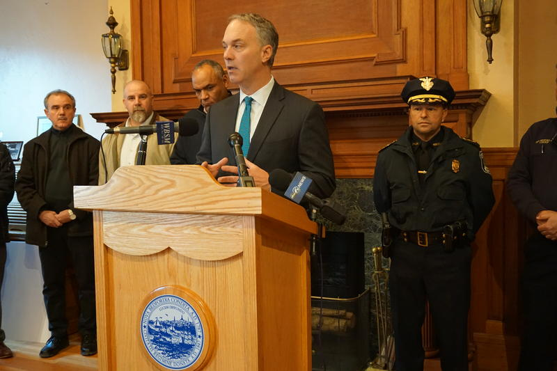 New Bedford Mayor John Mitchell speaking during a press conference Friday.
