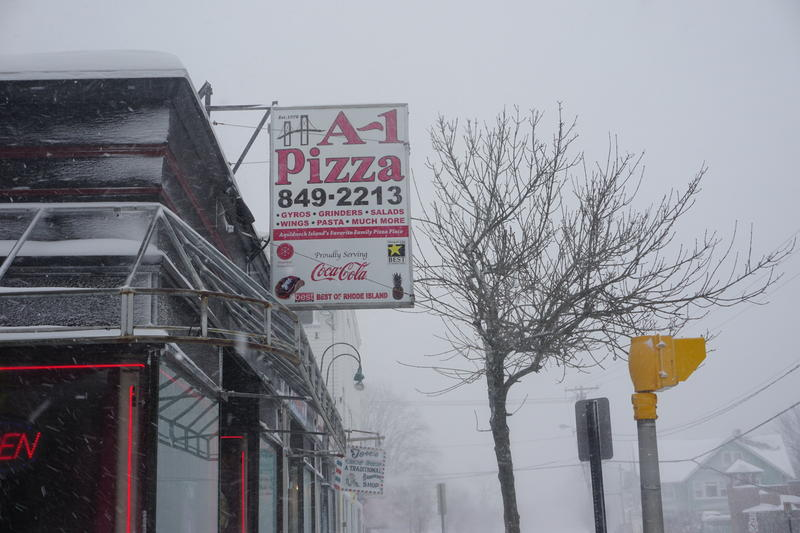 A1 Pizza in Newport, during the winter storm Thursday.