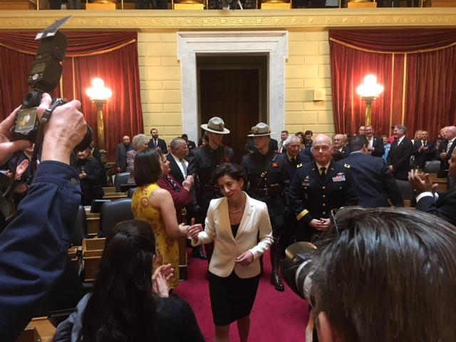 Governor Gina Raimondo entering the House chamber before delivering the 2018 State of the State address.