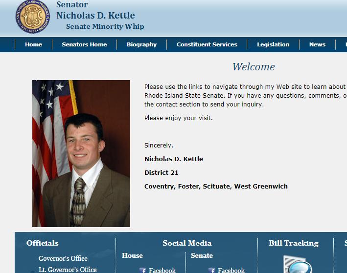Senator Nicholas Kettle's profile picture as it appeared on his legislative web site.