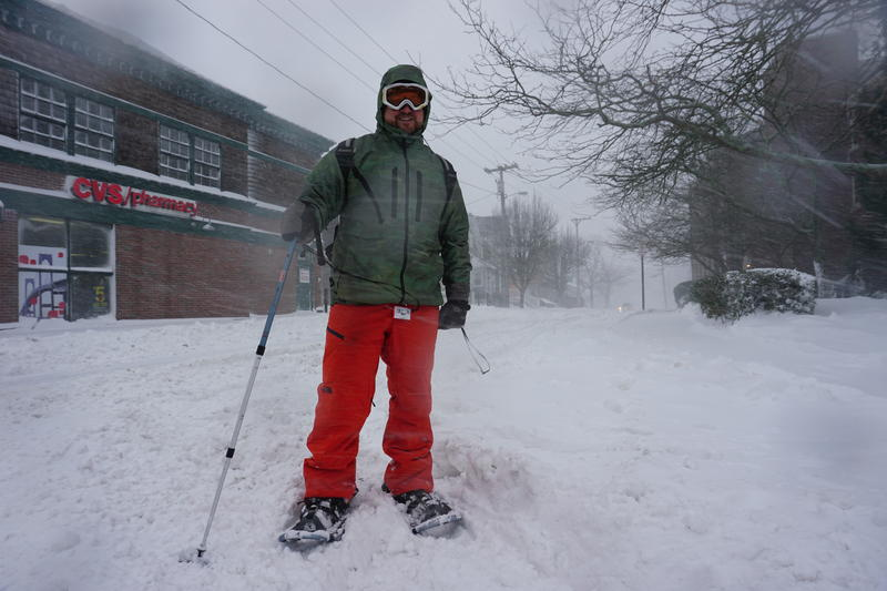Newport resident Mark Rotella used snow shoes to get from his office back to his home.