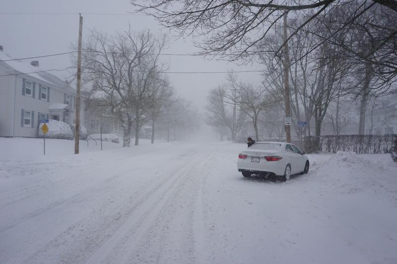 A snowy street in Newport.