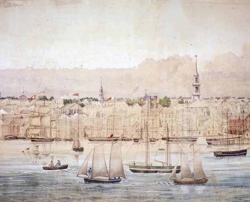 A portion of a panoramic painting of New Bedford Harbor, created by Benjamin Russel and Caleb Purrington in 1848.