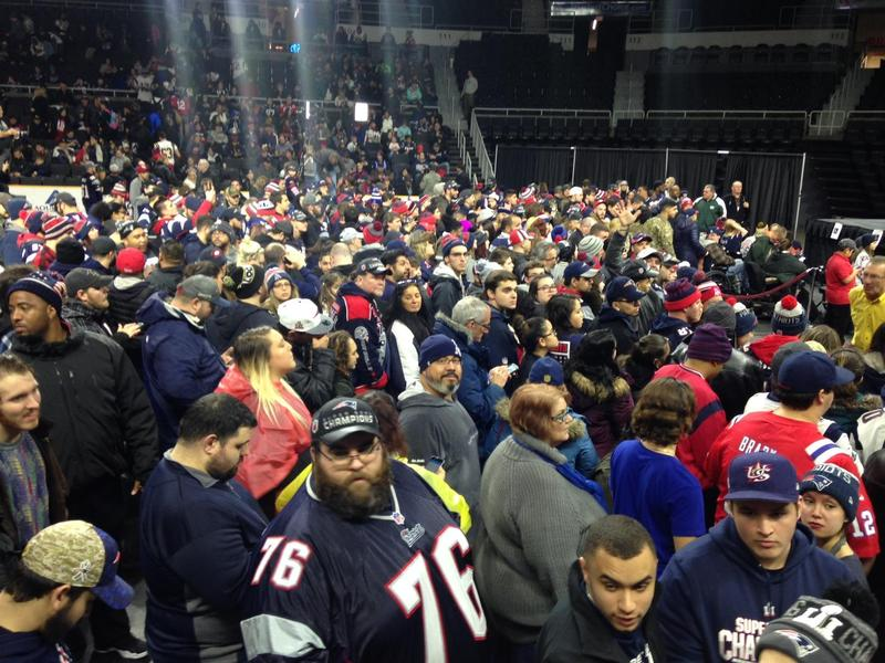 Patriots fans celebrate at the Dunkin Donuts Center in Providence after winning the 2017 Super Bowl.