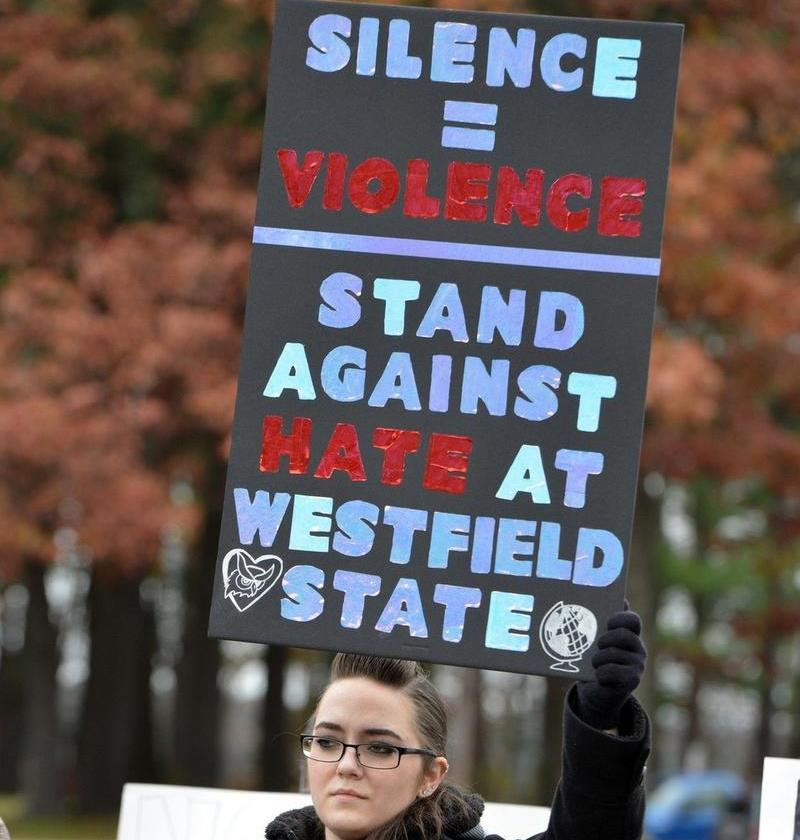 Westfield State University students walked out of class in fall 2017 after a spate of hate crimes were reported on campus, including racist graffiti written on dormitory room doors.