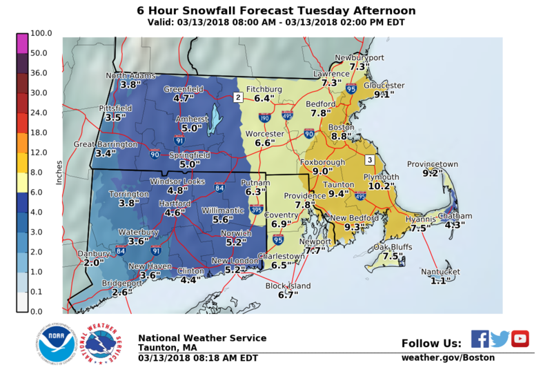 Six Hour Snowfall Forecast Tuesday Afternoon