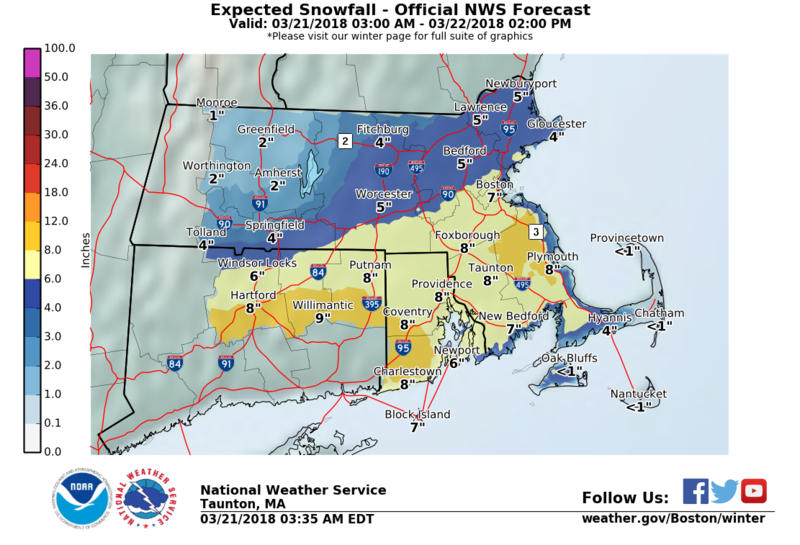 A map of snowfall totals predicted for what will be the fourth winter storm to hit New England in March.