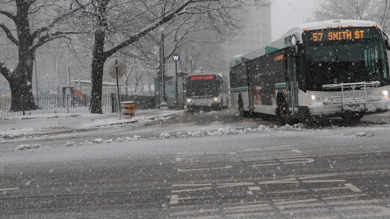 Buses service was suspended as of 3:30 p.m. Transit officials cited dangerous road conditions.