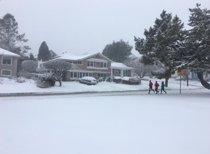 Joggers in Cranston enjoy the snowy day.