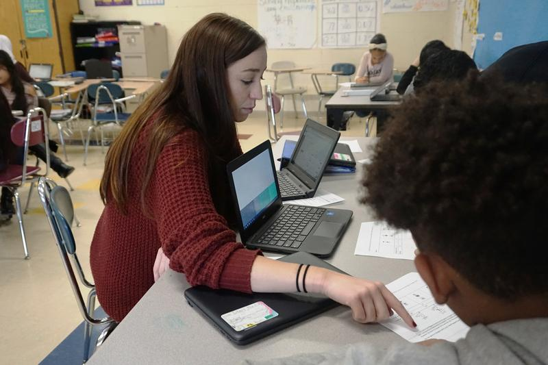 This is the first year DelSesto math teacher Haley Davis has used the Summit Learning software in her classrooms.