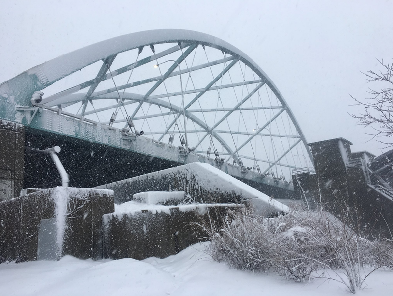 The 195 I-Way bridge this morning, seen from India Point Park