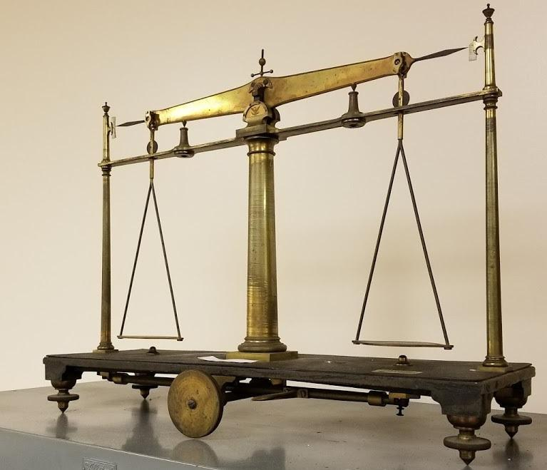 """An old Saxton Balance scale, which inspectors would have used to ensure vendors in Connecticut were talking the same """"language"""" when selling products of a specified weight."""