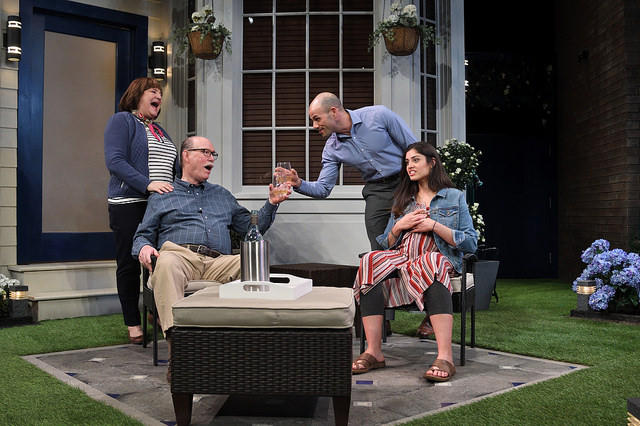 Left to Right: Anne Scurria as Virginia, Timothy Crowe as Frank, Daniel Duque-Estrada as Pablo, Maria Gabriela Rosado Gonzalez as Tania in Native Gardens written by Karen Zacarias and directed by Christie Vela.